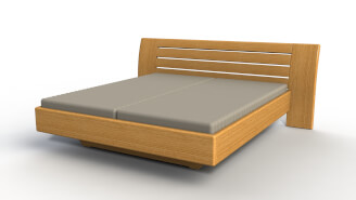 Bed FLABO wooden headboard without nightstands