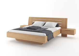 Bed FLABO wooden headboard with nightstands